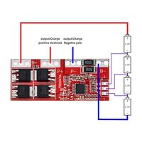 Модуль контроля заряда 4S литий - ионного аккумулятора 18650 на ток 15А с защитой.